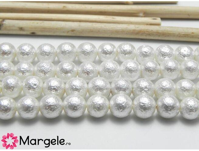 Perle tip mallorca 6mm alb texturat (1buc)