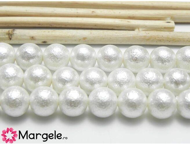 Perle tip mallorca 8mm alb texturat (1buc)