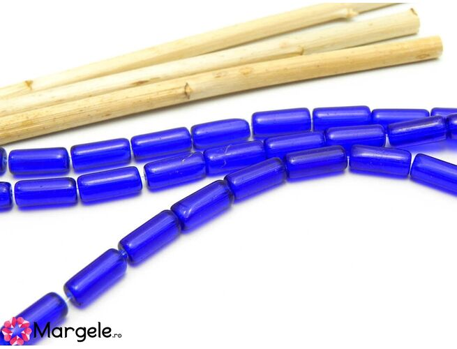 Sirag margele de sticla tub 10x4mm albastru