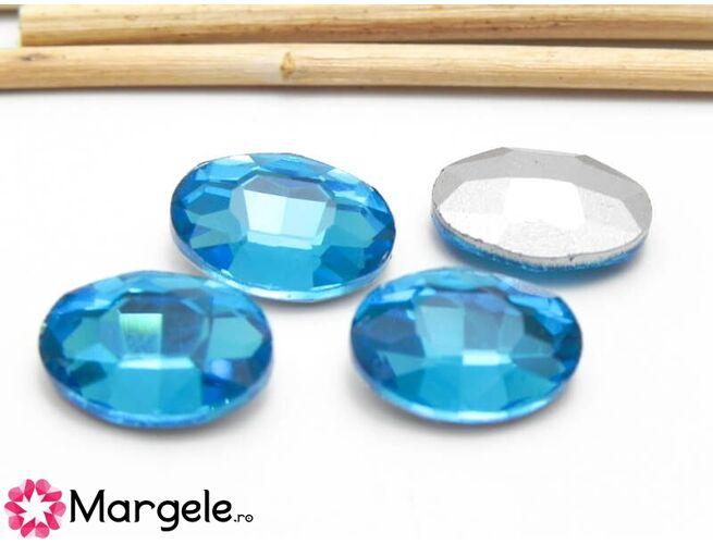 Cabochon din sticla oval 14x10mm capri blue (1buc)