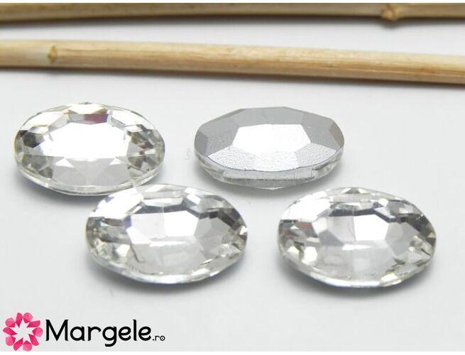 Cabochon din sticla oval 14x10mm crystal (1buc)
