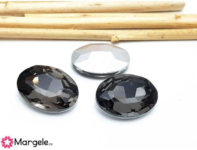 Cabochon din sticla oval 14x10mm graphite (1buc)