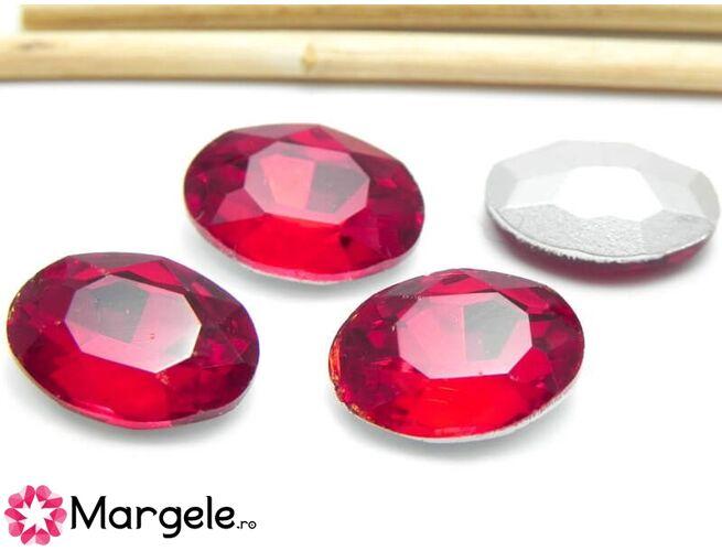 Cabochon din sticla oval 14x10mm siam (1buc)