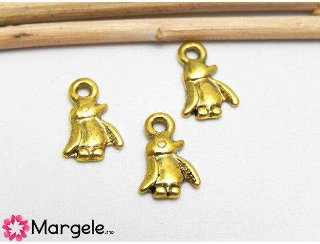 Charm pinguin 11x8mm auriu