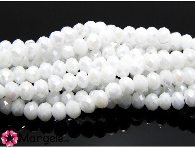 Cristal rondel 4x3mm alb ab (1buc)