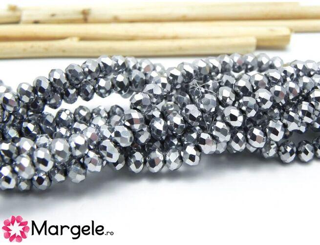 Cristal rondel 4x3mm argintiu (1buc)