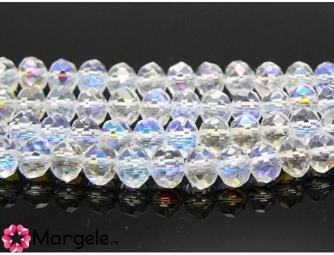 Cristal rondel 6x4mm transparent ab (1buc)