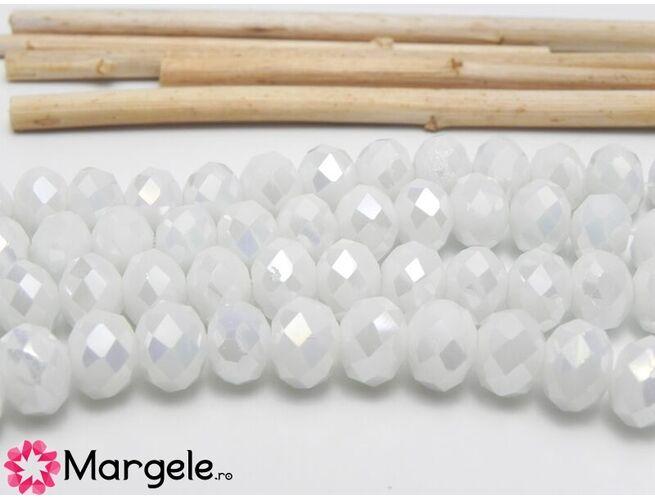 Cristal rondel 8x6mm alb opac ab