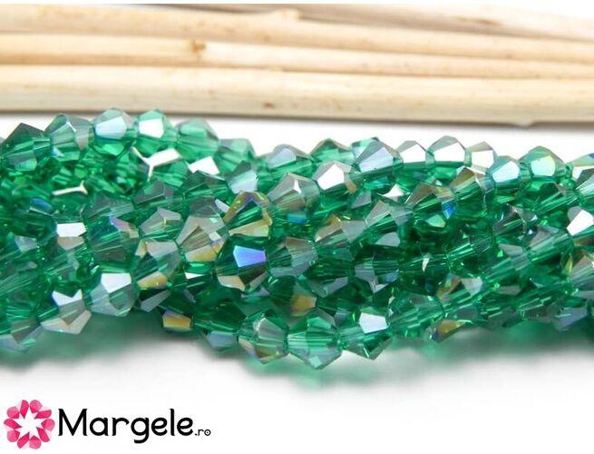 Cristale biconice 4mm smarald ab (10buc)