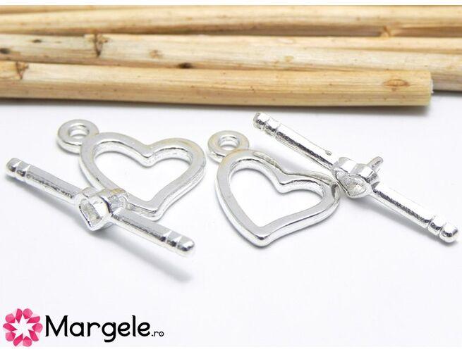 Inchizatoare toggle 18x14mm argintiu inima