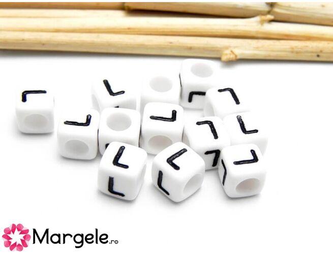 Margele acrilice litera l 6.5x6.5mm  (10buc)