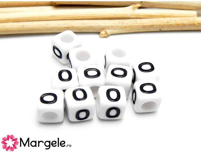 Margele acrilice litera o 6x6mm  (10buc)
