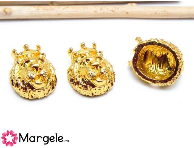 Margele distantier leu 15x11mm auriu (1buc)