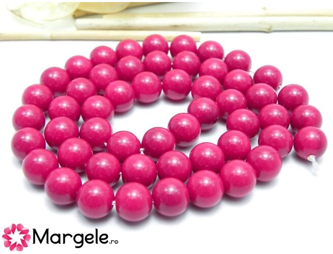 Margele sticla 10mm magenta opac (1buc)