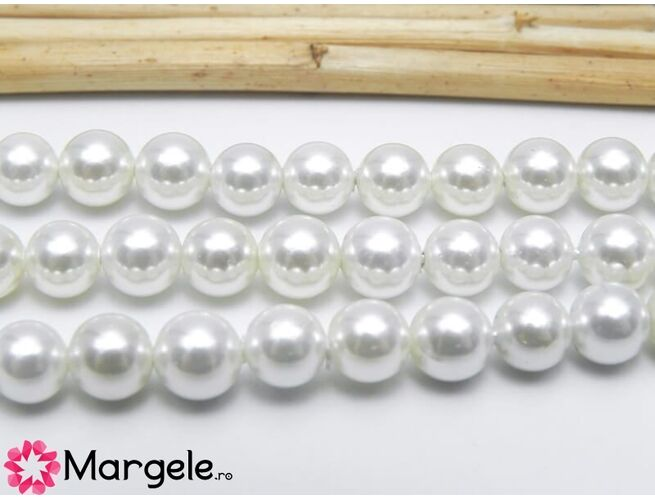 Perle tip mallorca 6mm albe (1buc)
