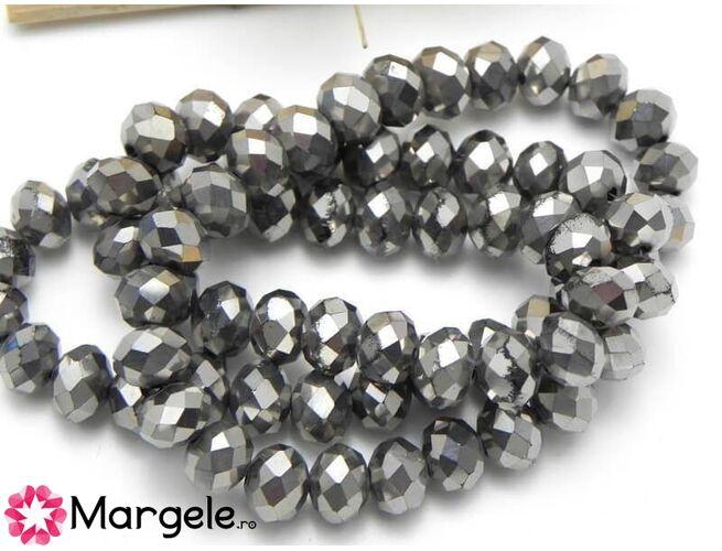 Cristal rondel electroplacat 8x6mm argintiu inchis