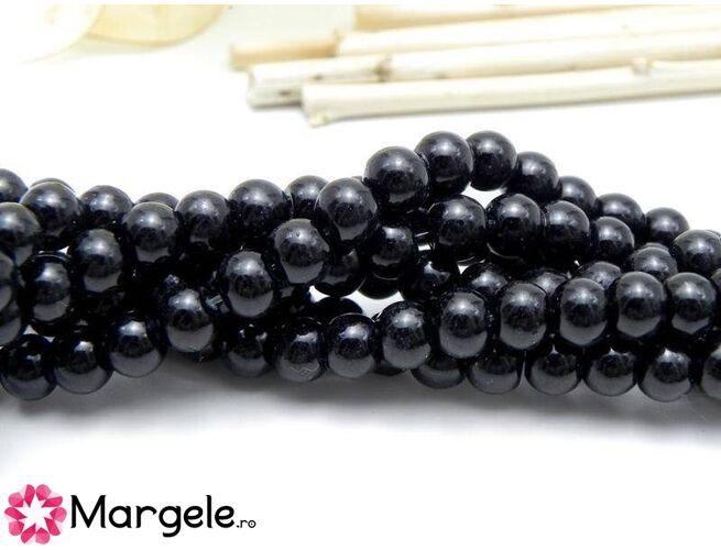 Perle de sticla 6mm negru (10buc)