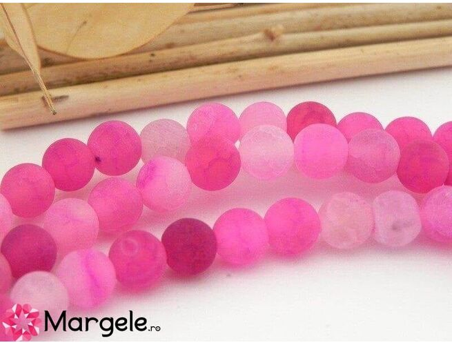 Agate frosted 6mm fucsia