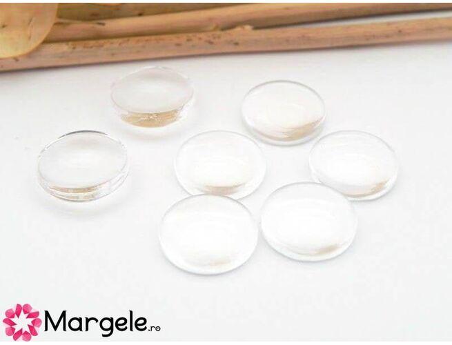 Cabochon din sticla 16mm transparent