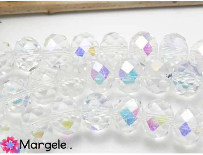 Cristal rondel 8x6mm transparent ab