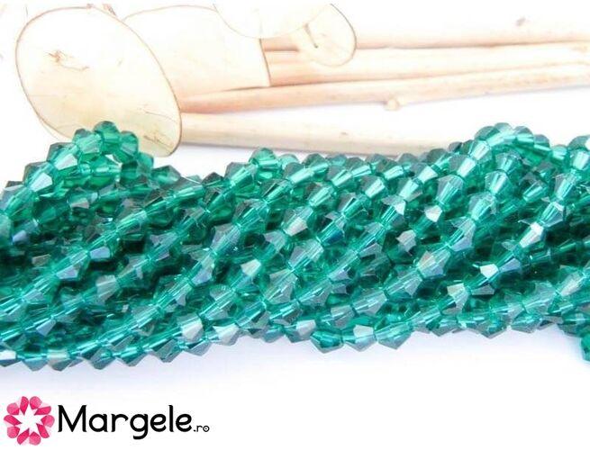 Cristale biconice 4mm smarald (10buc)