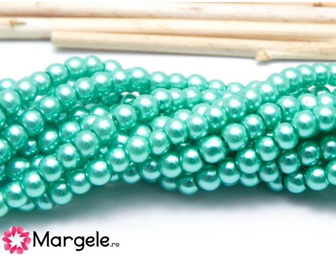 Perle de sticla 4mm turcoaz (10buc)