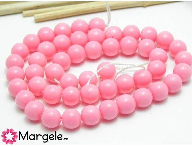 Margele sticla 8mm roz opac (1buc)