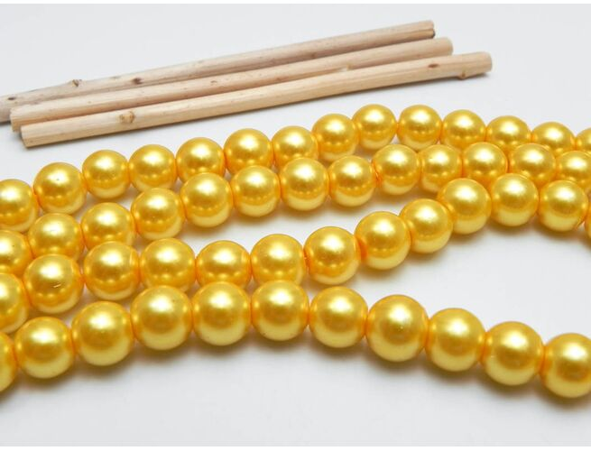 Perle de sticla 8mm auriu (10buc)